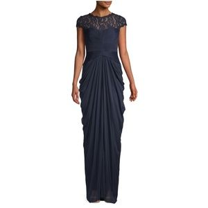 Adrianna Papell Ruched Lace Column Gown Navy Blue